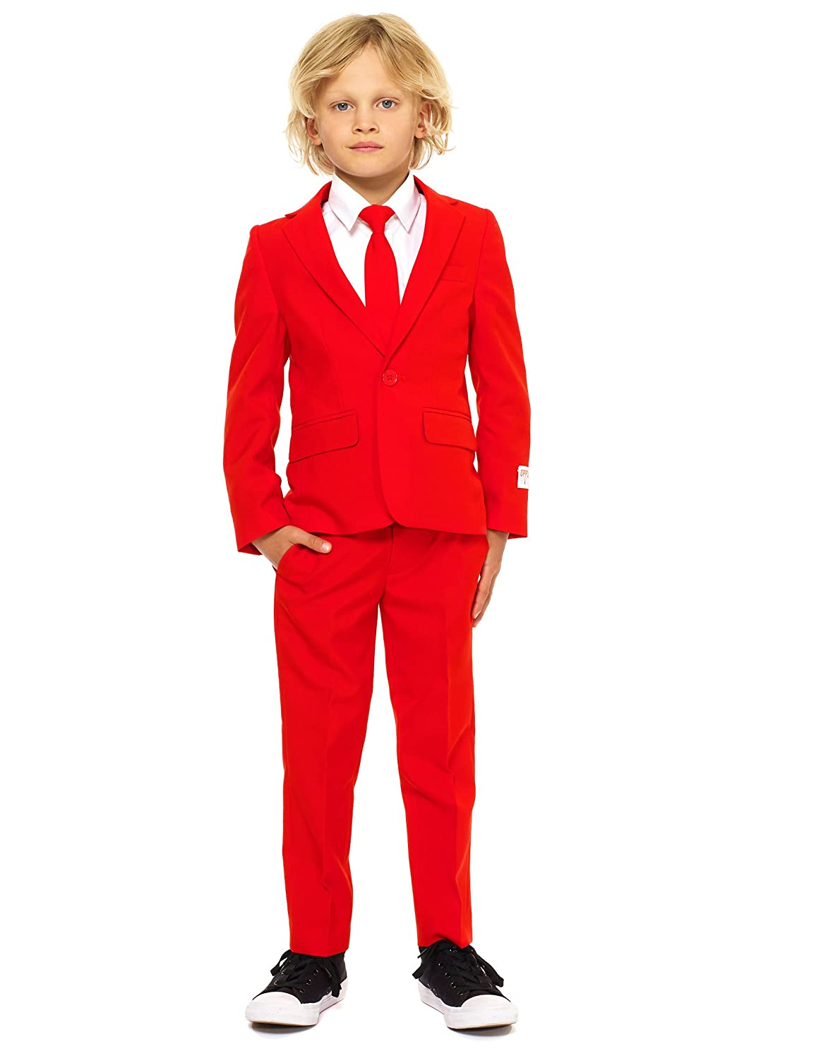 Opposuits Crazy Suits for Boys in Different Prints – Comes with Jacket, Pants and Tie In Funny Designs rot Devil