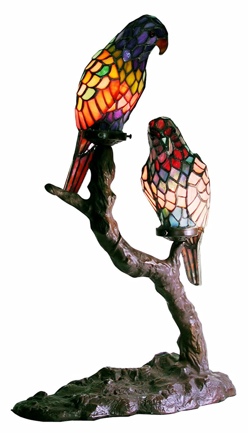 Tiffany style exotic birds accent lamp table lamps amazon mozeypictures Choice Image