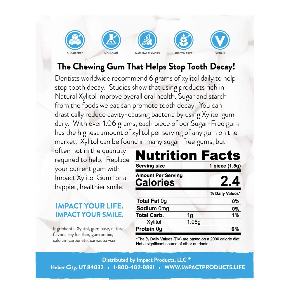 Impact Xylitol Gum - Sugarless - No Aspartame - Helps Reduce Tooth Decay - More Xylitol Per Piece than Most Brands - Keto and Diabetic-Friendly (Fresh Fruit, 580 pieces) by Impact Products (Image #3)