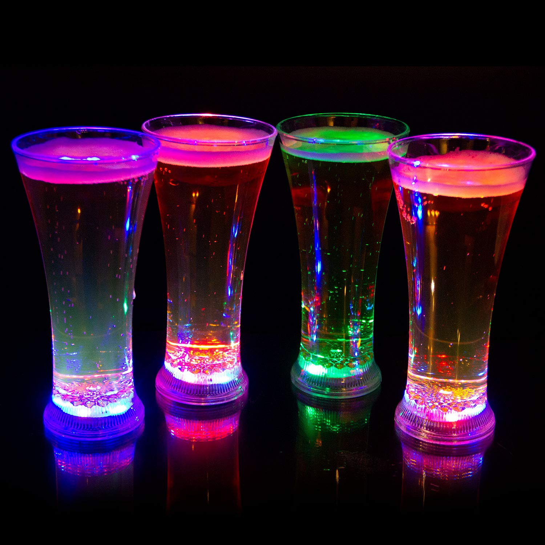 Liquid Activated Multicolor LED Pilsner Glasses ~ Fun Light Up Beer Glasses - 13 oz. - Set of 4