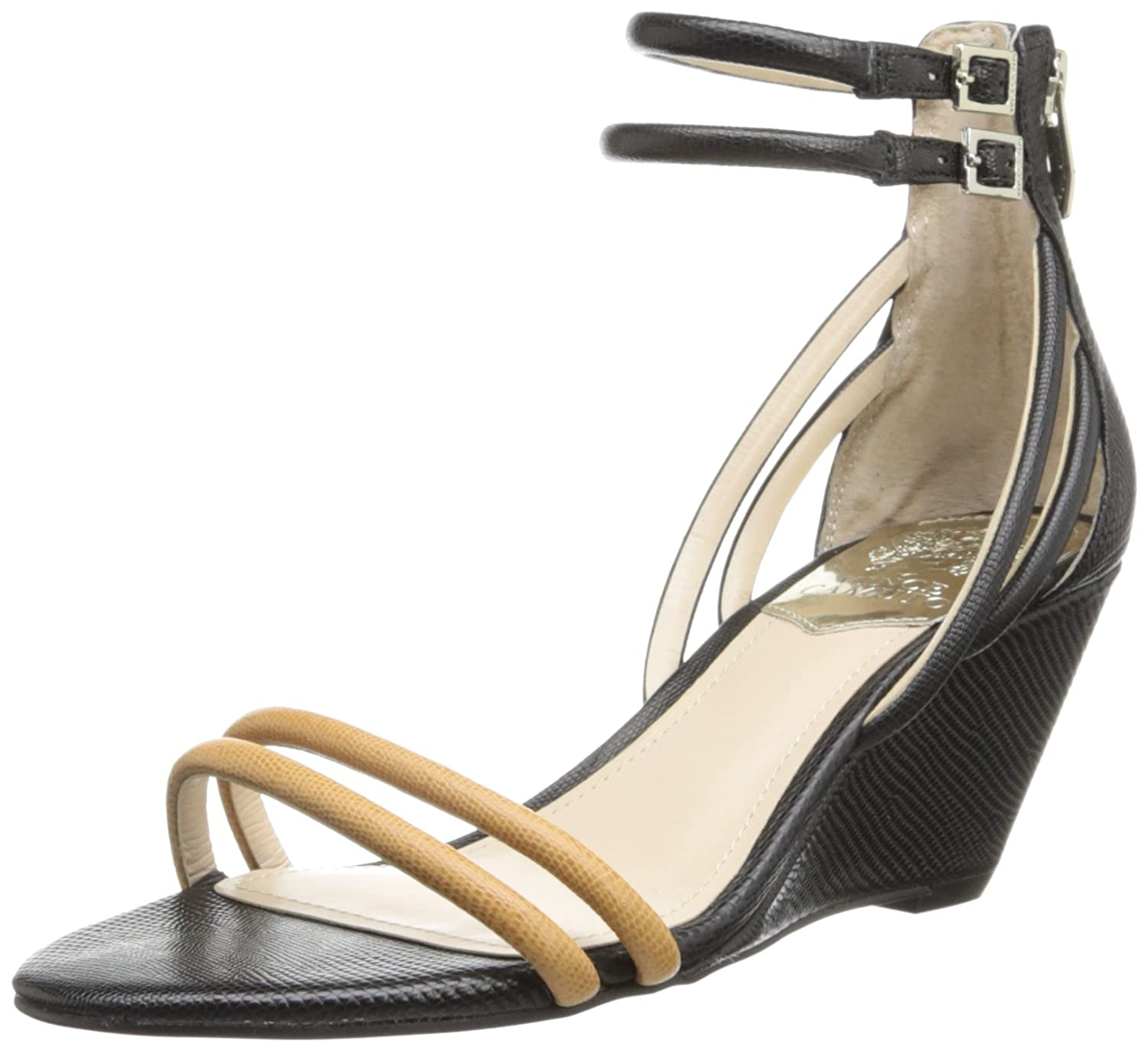 Vince Camuto Women's Wynter Wedge Sandal B00IJ4KWSO 8 B(M) US|Black/Outback