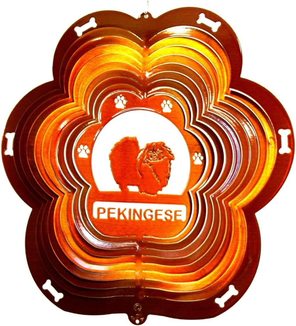 12 Animal Dog Breed Pekingese Stainless Steel Wind Spinner Copper