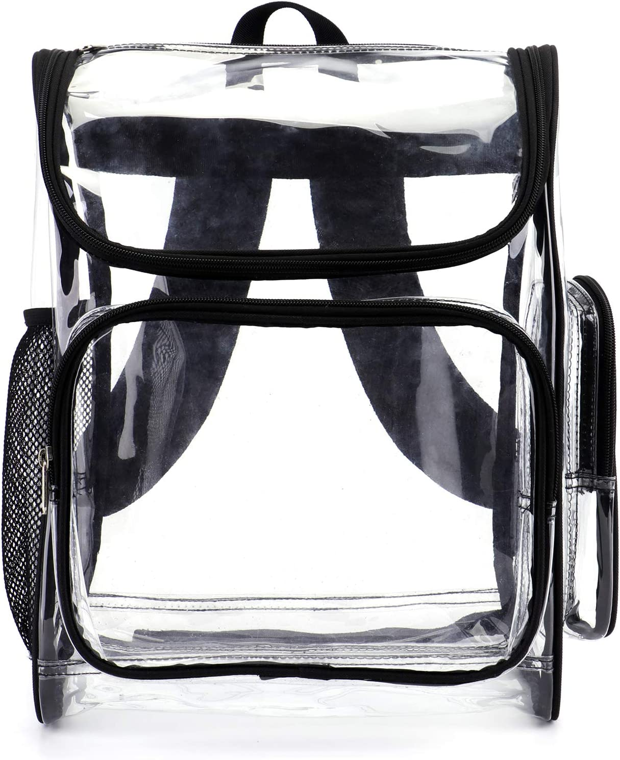 Clear Backpack,Durable PVC Heavy Duty Transparent Backpack Multi-Pockets Good For School,Work,Sports,Stadium,Work,Travel,Outdoor