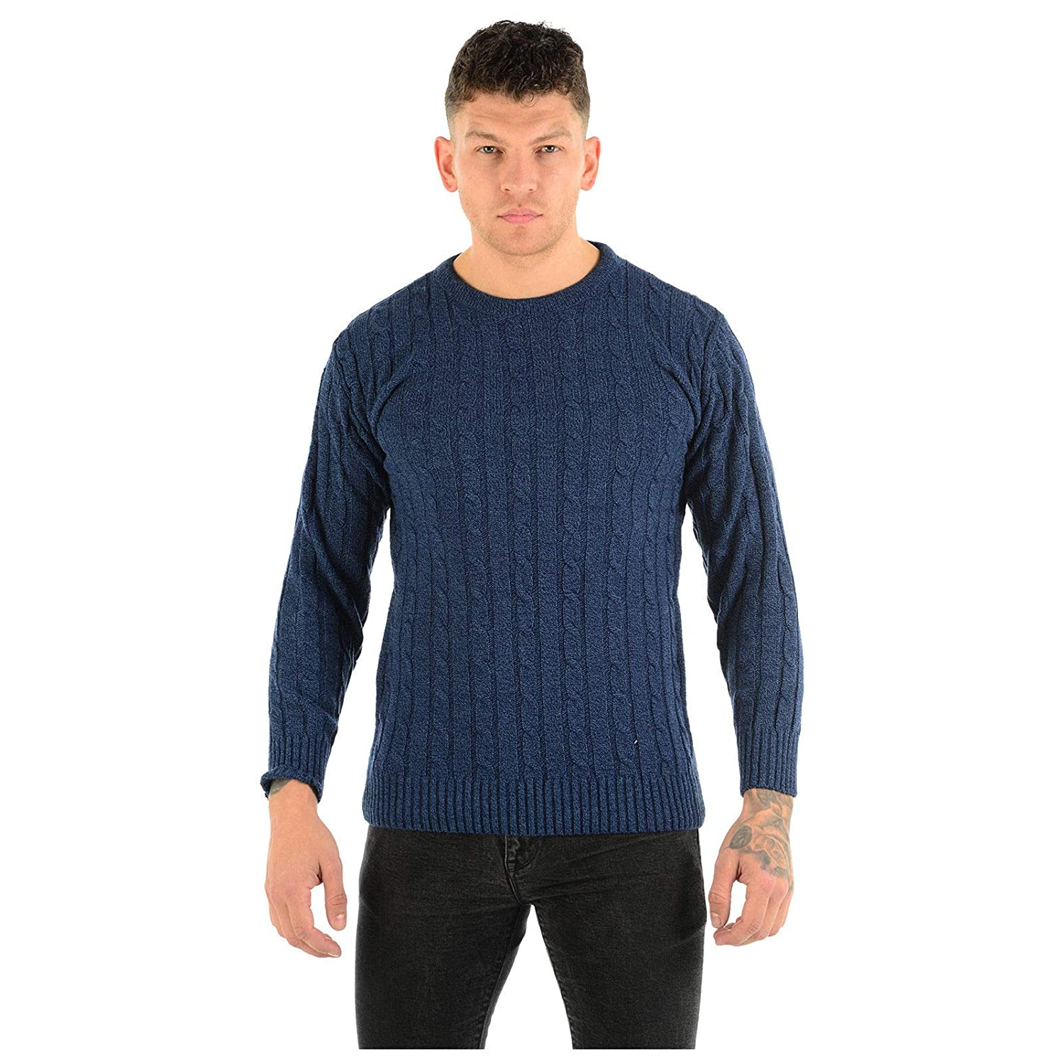 MyShoeStore Mens Classic Style Chunky Cable Knit Jumper Plain Casual Design Pull On Thick Warm Winter Pullover Sweater Knitted Crew Neck Long Sleeve Knitwear Top M-2XL