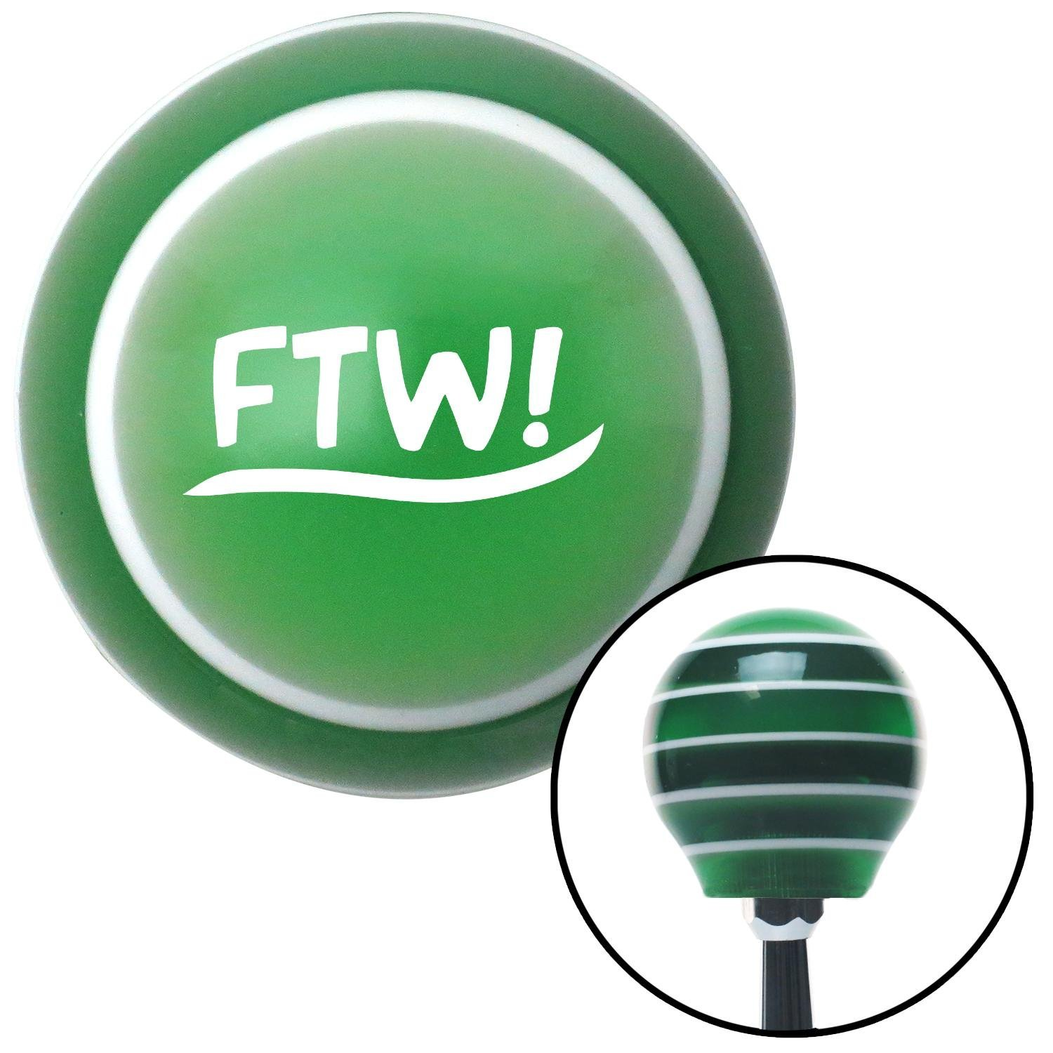 White FTW! American Shifter 129048 Green Stripe Shift Knob with M16 x 1.5 Insert