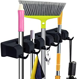 Mop and Broom Holder Wall Mount - CINEYO - Heavy Duty Broom Holder Wall Mounted or Tool Organizer For Home Garden Garage And Storage (5 Positions with 6 Hooks) (Black)