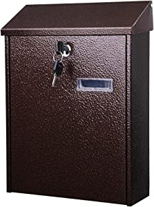 Yescom Wall Mount Steel Mail Box Lockable Letterbox w/Retrieval Door & 2 Keys Home Office Post Security Outdoor