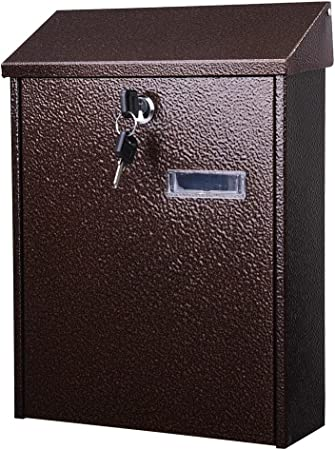 Yescom Wall Mount Steel Mail Box Lockable Letterbox w//Retrieval Door /& 2 Keys Home Office Post Security Outdoor