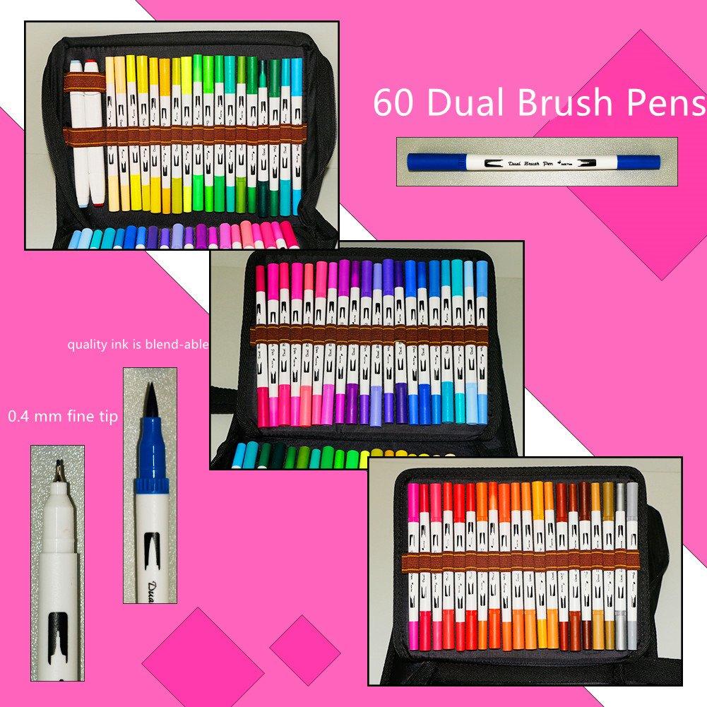 Southsun Art 122 Unique Color Pencils Include 50 Color Gel Pens Set 60 Dual Brush Pens 10 Fineliner Planner Pens 2 Touch Twin Markers for Bullet Journal Planner Adult Coloring Books Note Calendar