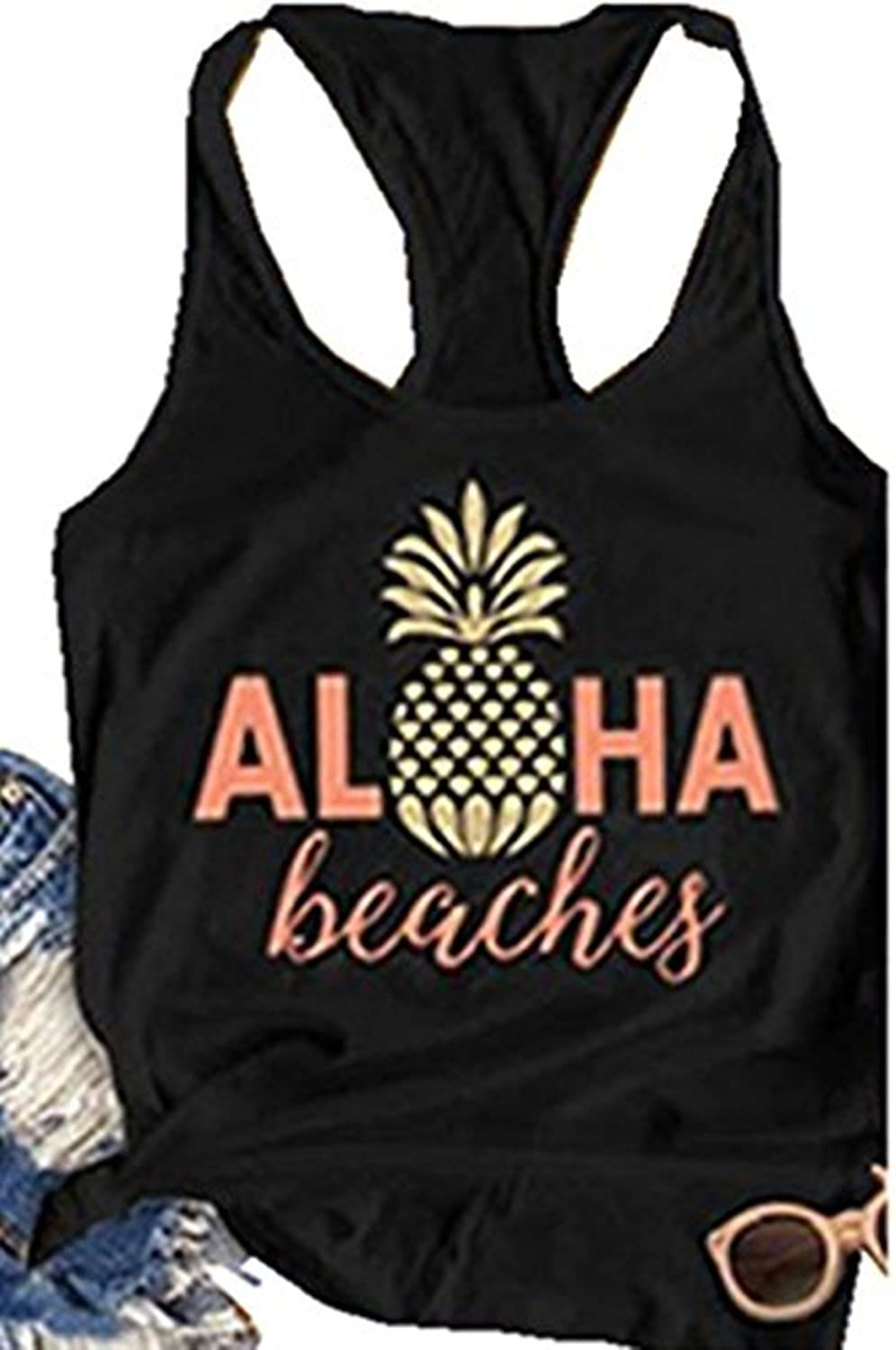 dc8f0d23dfa40 ... Beaches Letters Pineapple Print Graphic Tank T-shirt  ,Sleeveless,Racerback Cami Tee Great Match with Jeans,Shorts, Pants. Suit  for Spring,Summer,Autumn.