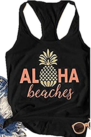 b145e0d5138ec NATAY Women s Summer Aloha Beaches Tank Tops Sleeveless Pineapple Print  Racerback Tees (Black