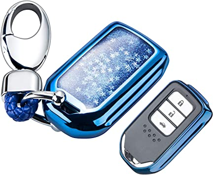 Accord Black CR-V,Pilot Smart Key Keyless Remote FOB Shell Key Chains YIJINSHENG TPU Car Key Soft Plating Protection Shell Case Cover for Honda Civic