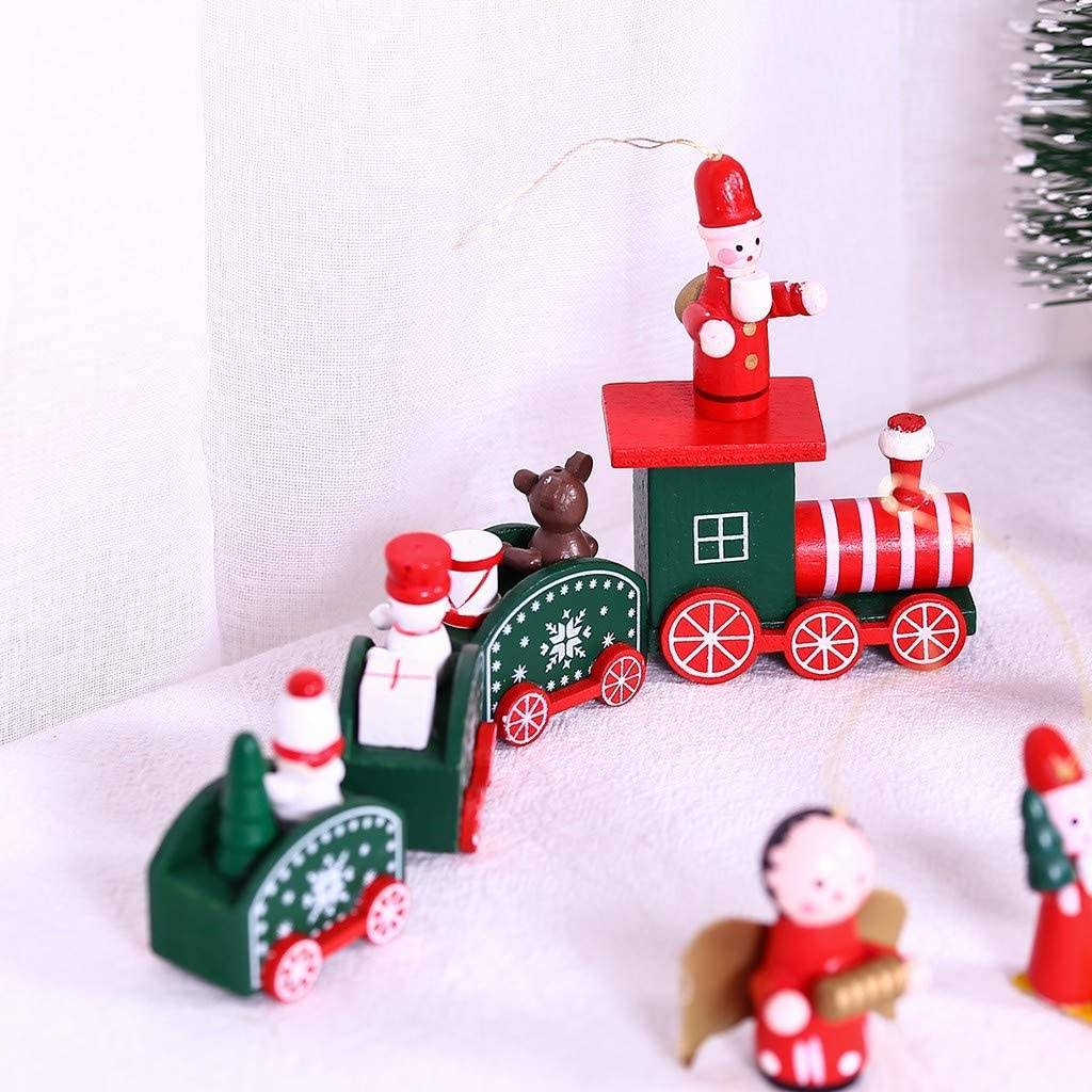 Armfer-household supply Wooden Toy Train Christmas Mini Red Train Model with Snowman Bear Santa Figure Kids Gifts Toys Tabletop Decorations Holiday Birthday Party Favors