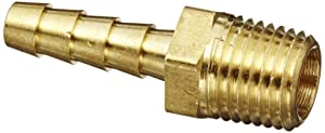 "Anderson Metals 57001-0404 Brass Hose Fitting, Adapter, 1/4"" Barb x 1/4"" NPT Male Pipe"