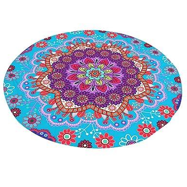 Kinlene Lotus Hippie Ronda Tapiz Flores Playa Tiro Cojín Toalla Estera de Yoga Bohemio( Azul): Amazon.es: Ropa y accesorios