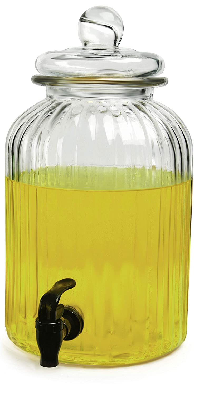 Circleware 69167 Sun Tea Mason Jar Beverage Dispenser with Spigot and Glass Lid Entertainment Home & Kitchen Glassware Water Pitcher for Juice, Wine, Kombucha and Cold Drinks, 1.3 Gallon, Ridge