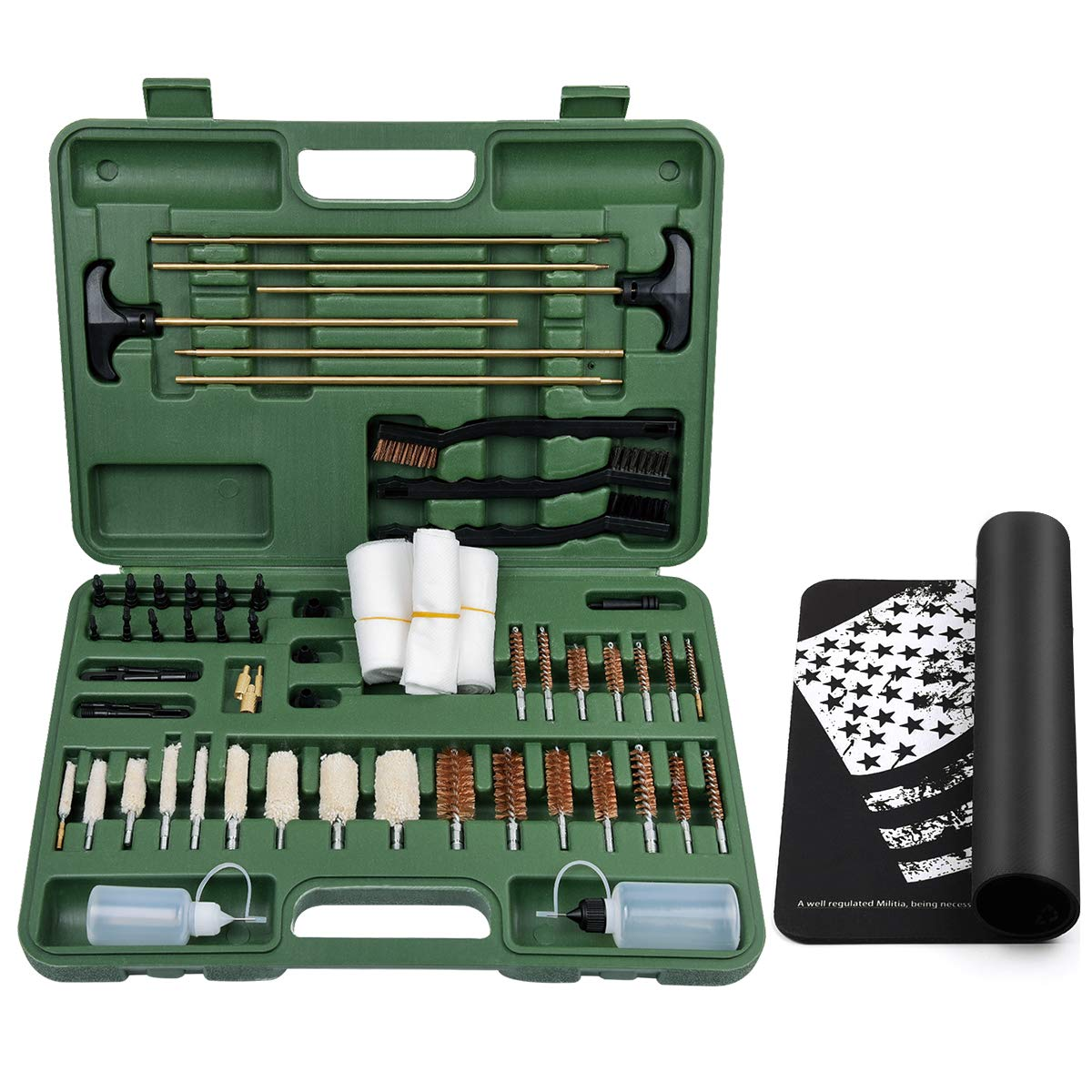 IUNIO Universal Gun Cleaning Kit Supplies with Gun Cleaning Mat Rifle Pistol Handgun Shotgun Brushes Patches Bottles Brass Rods Jags Mops Slotted Tips Carrying Case for Hunting Shooting