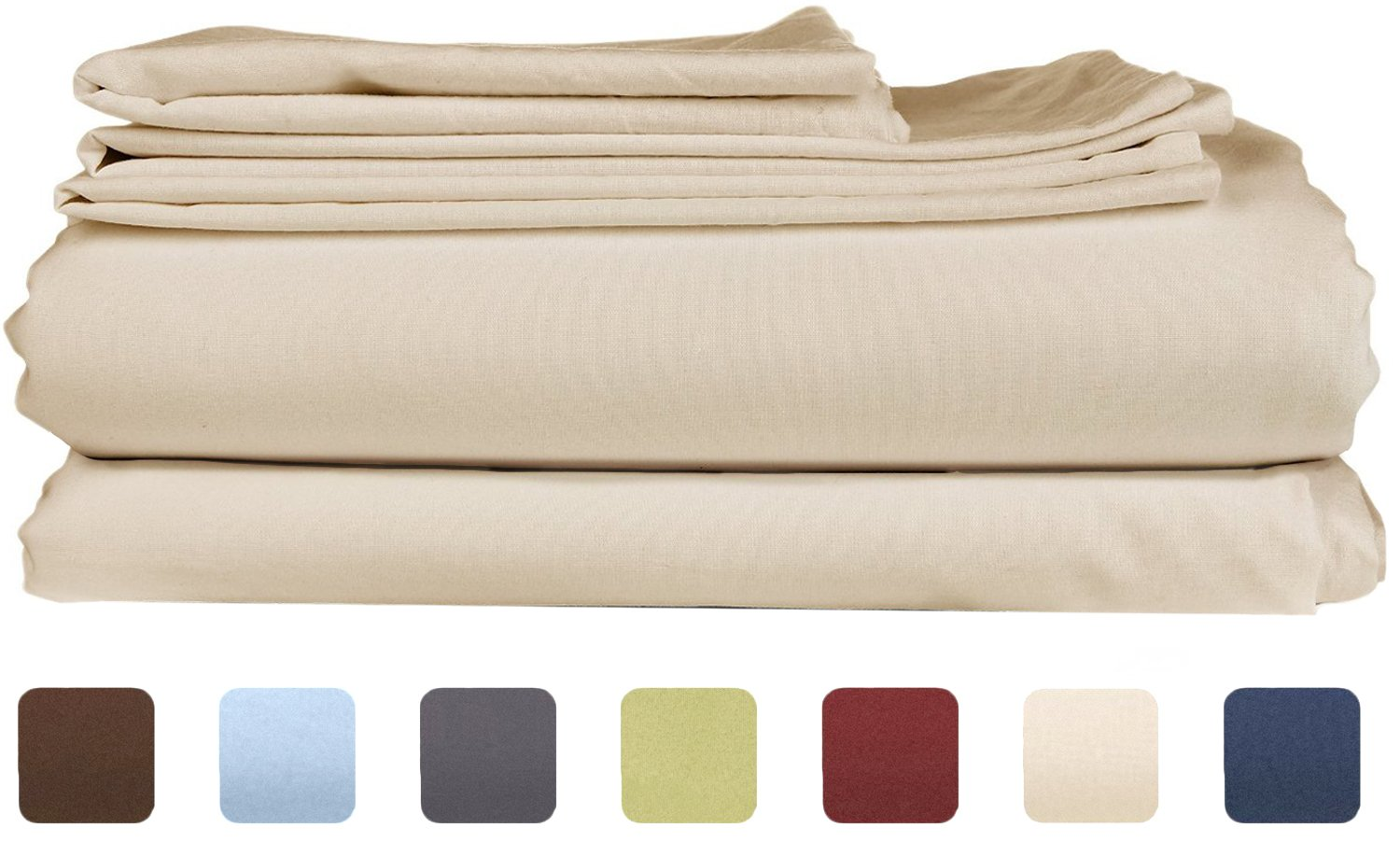 King Size Sheet Set - 6 Piece Set - Hotel Luxury Bed Sheets - Extra Soft Beige Bed Sheets