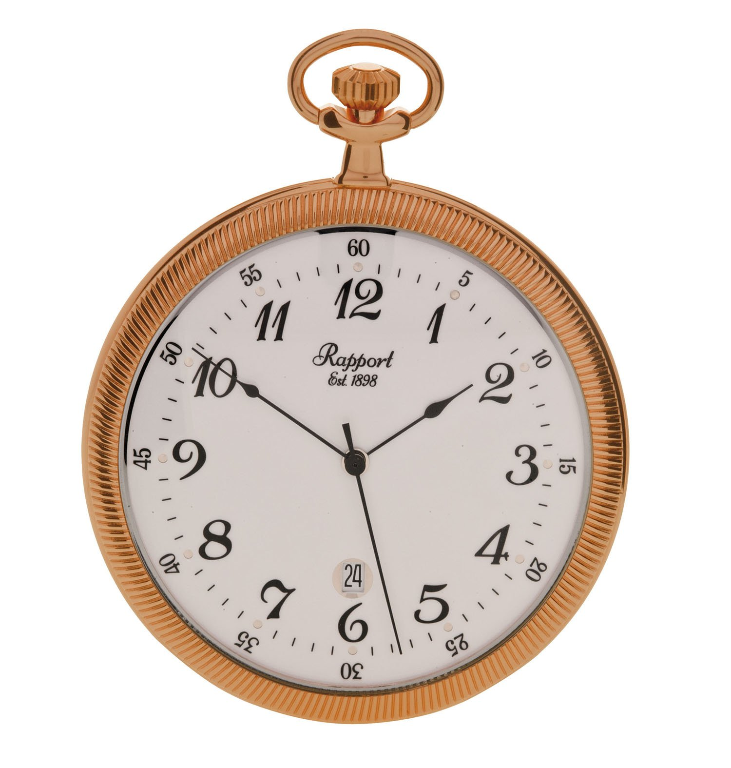Vintage Pocket Watch with Chain by Rapport - Classic Oxford Open Face Pocket Watch with Date - Rose Gold by Rapport
