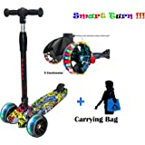 DERAK Scooters for Kids 3 Wheel T-bar Balance Riding Kick Scooters Foldable Height Adjustable LED PU Flashing with…