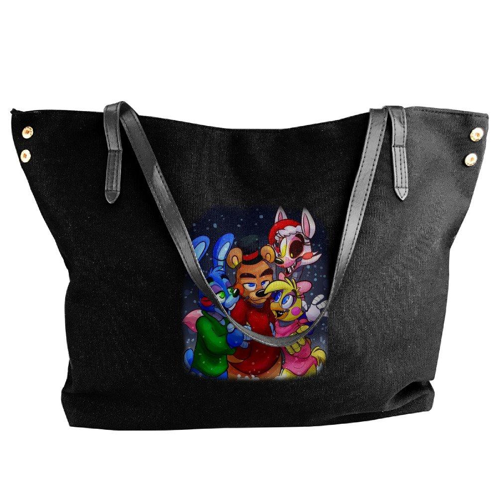 Five Nights At Freddy Merry Christmas Women's Handbags Ladies Canvas Shoulder Bag Fashion Totes Messenger Bags