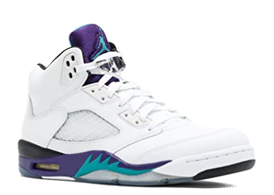 Nike Mens Air Jordan 5 Retro White Grape Leather basketball-shoes Size 8