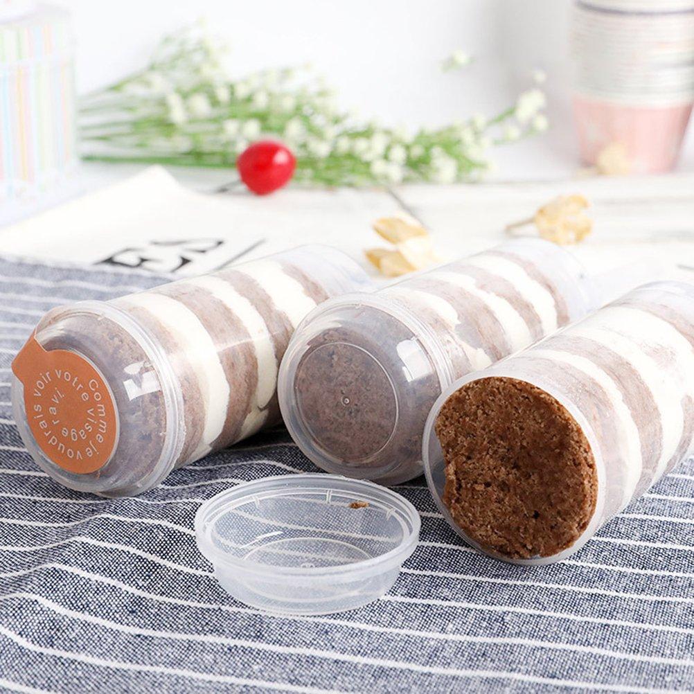 Bestonzon 24/pcs ronde push-up Cake Pop Shooter Rainbow Cake Push Pops r/écipients en plastique avec couvercles