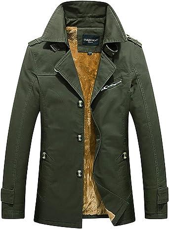 RUIYUNS Mens Classic Winter Coat Thick Warm Trench Coat Parka Outdoor Jacket Long Windbreaker Blazer Plus Velvet Lining