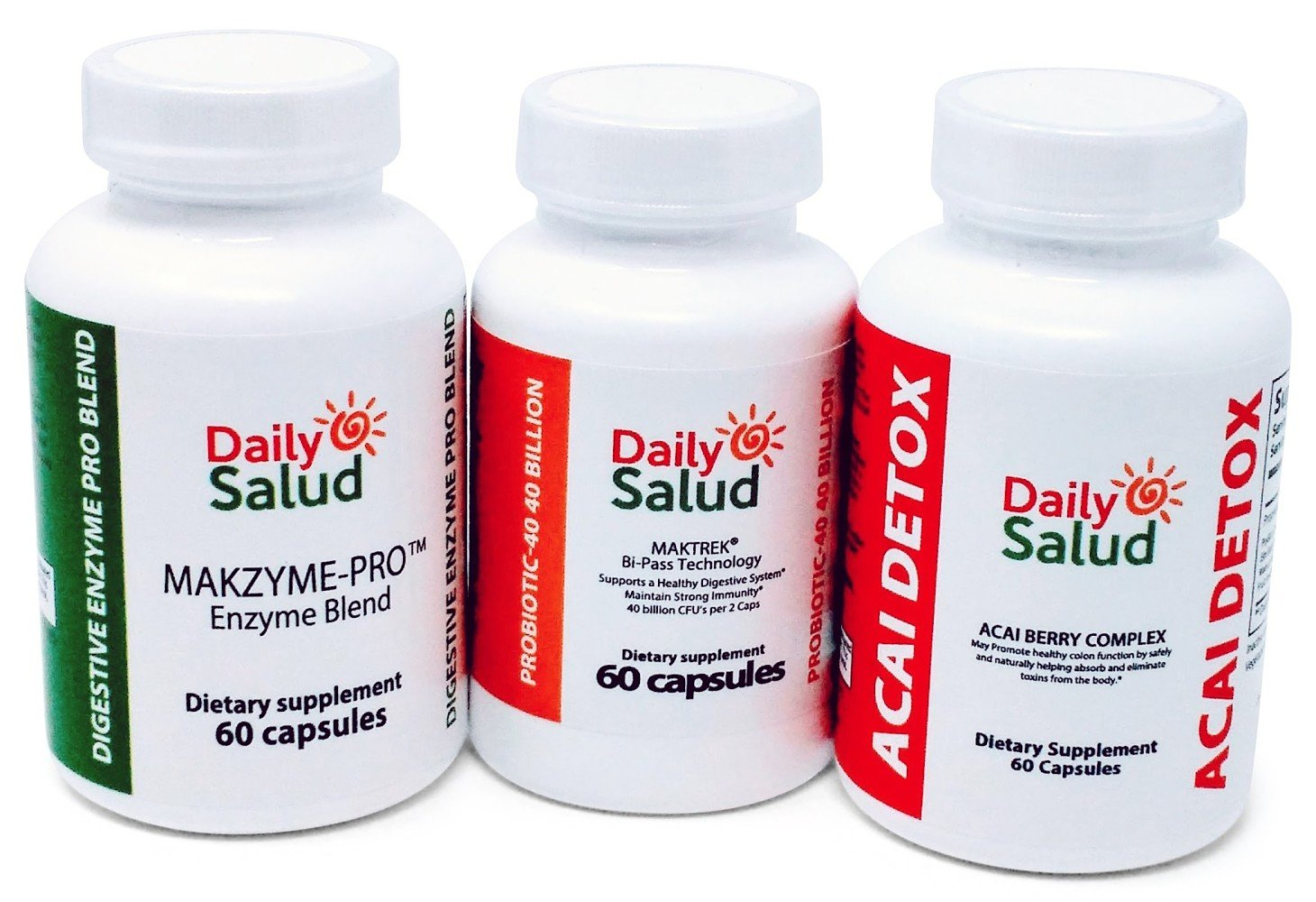 Daily Salud The Best Natural Digestive Health Supplement Kit Cleanse Regenerate & Protect Pack Includes Acai Berry Detox- Super Enzyme Defense-Extra Strength Probiotic,Complete Support Better Digestio