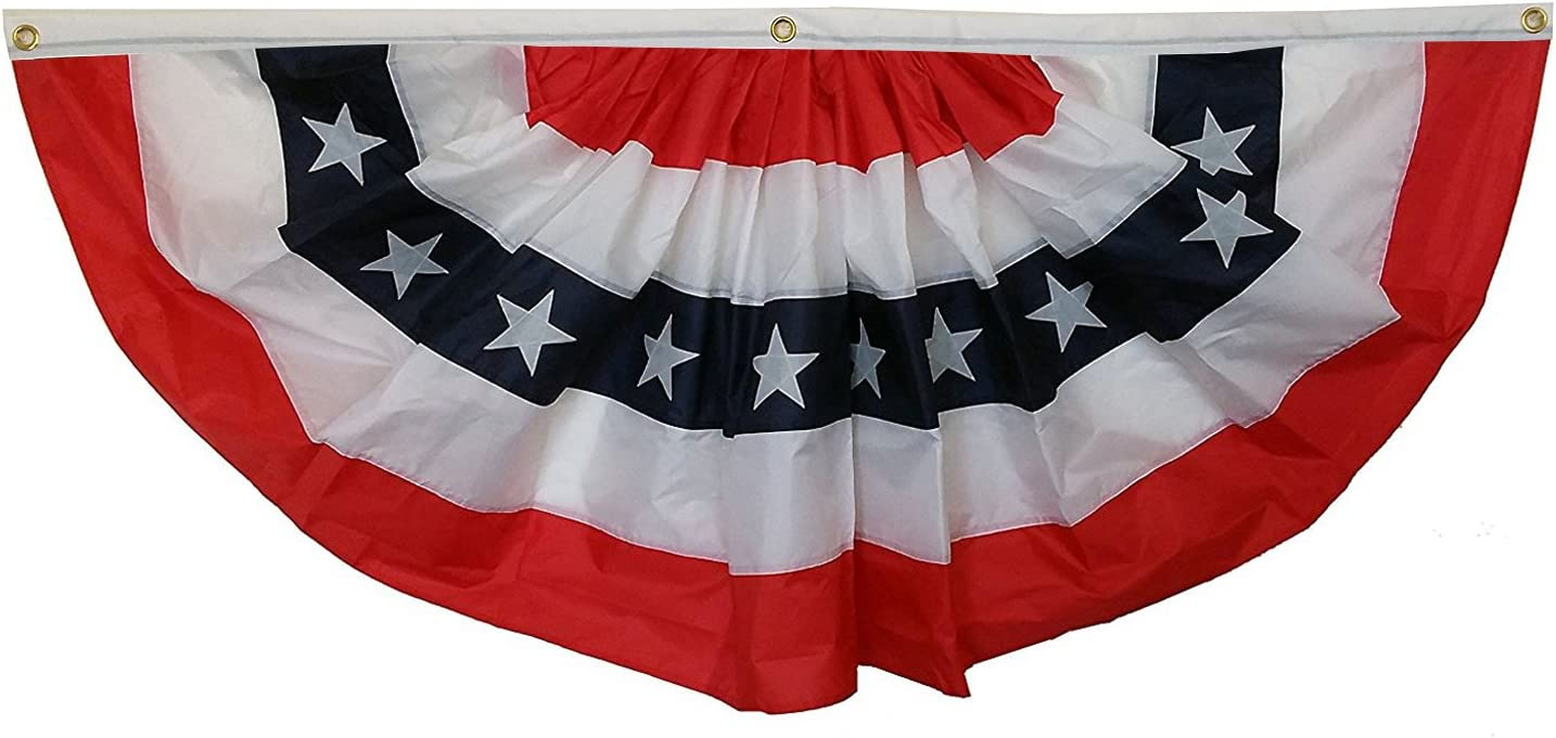 Patriotic Bunting Banner American Flag - 3' x 6' Pleated Fan Flag, Veterans Day, 4th of July, USA, President's Day, Red White and Blue Outdoor Décor, Election, Rally, Voting Booth, Memorial Day