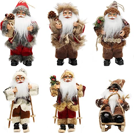 Amazon Com Chengmon 6 Inch Ornament Santa Claus Christmas Standing Sleigh Skiing Holiday Figurine Collection Doll Penda Small Xmas Tree Hanging Decoration Traditional Handmade Set Of 6 Pcs Assortment Pack Home Kitchen