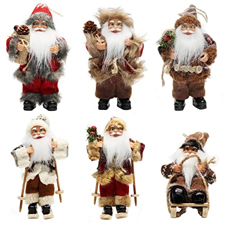 CHENGMON 6 Inch Ornament Santa Claus Christmas Standing Sleigh Skiing Holiday Figurine Collection Doll Penda Small Xmas Tree Hanging Decoration Traditional Handmade Set of 6 Pcs Assortment Pack