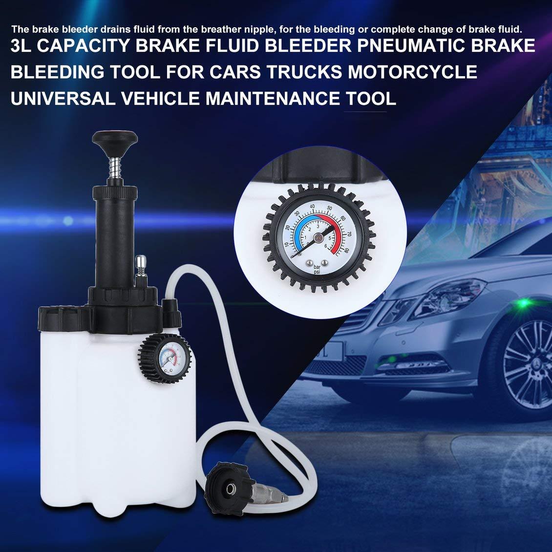 Capacidad 3L Capacidad del líquido de Frenos Purgador Neumático Herramienta de Sangrado de Frenos para Coches Camiones Motocicleta Universal Herramienta de ...