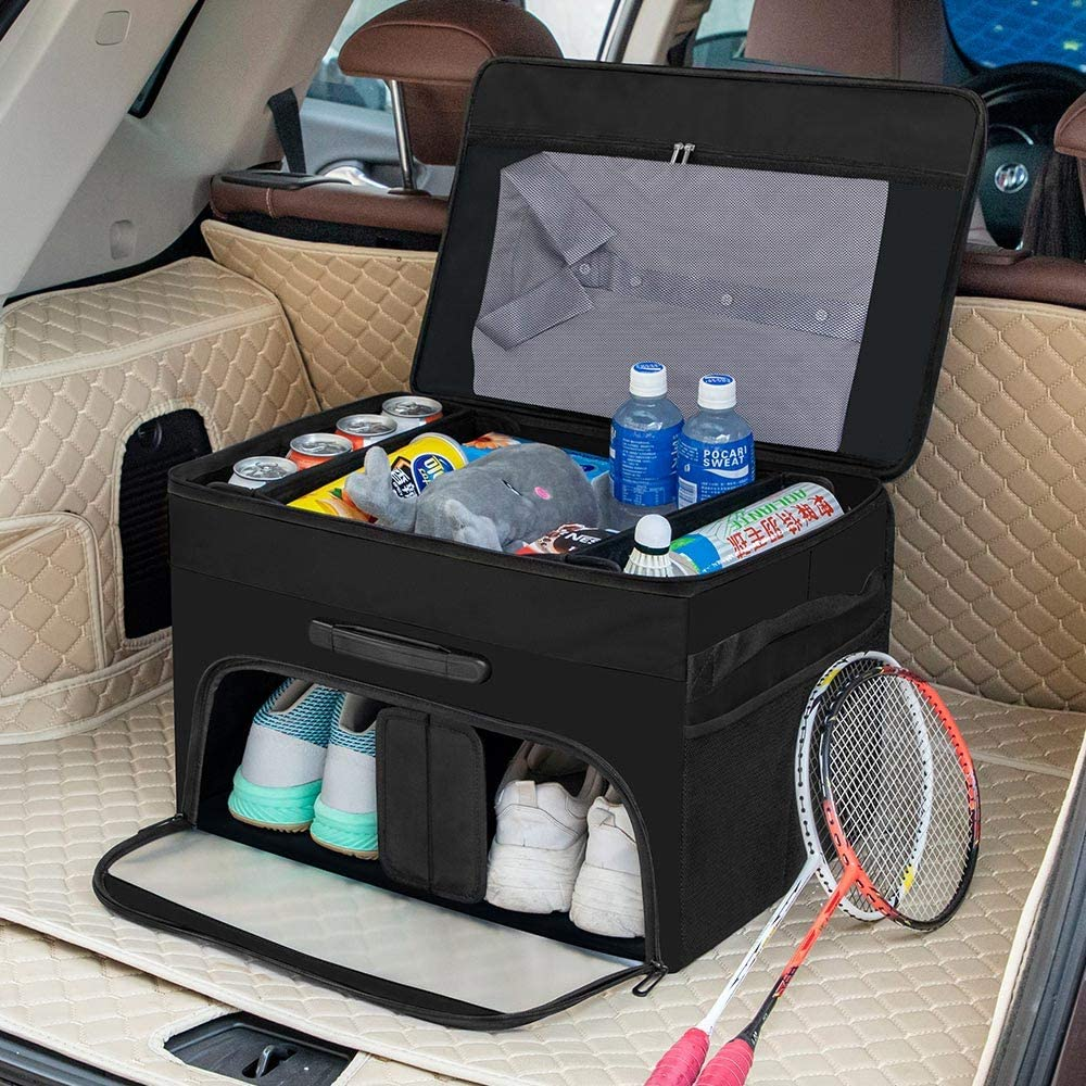 ACIOOCO Car Trunk Organizer Foldable Cargo Trunk Organizer with Durable Cover Collapsible Multi-Compartment Storage SUV, Vehicle, Truck, Home and Office with Side Pockets Reinforced Handles (Black)