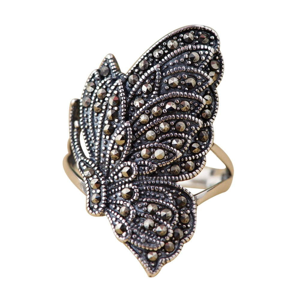 Vintage 925 Sterling Silver Butterfly Ring with Marcasite Stones for Women Girls