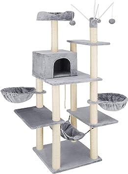 TecTake 800657 - Rascador para Gatos Lilou, Árbol para Gatos, Hamaca, Plataformas, Bolas de Juego - Varios Modelos (Type 1 | No. 402931): Amazon.es: Productos para mascotas