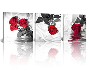 NAN Wind Canvas Print 3 Pcs Black White and Red Wall Art Rose Wall Decor Abstract Decorations Flower Picture on Canvas for Home Decor Stretched and Framed 12X12inches