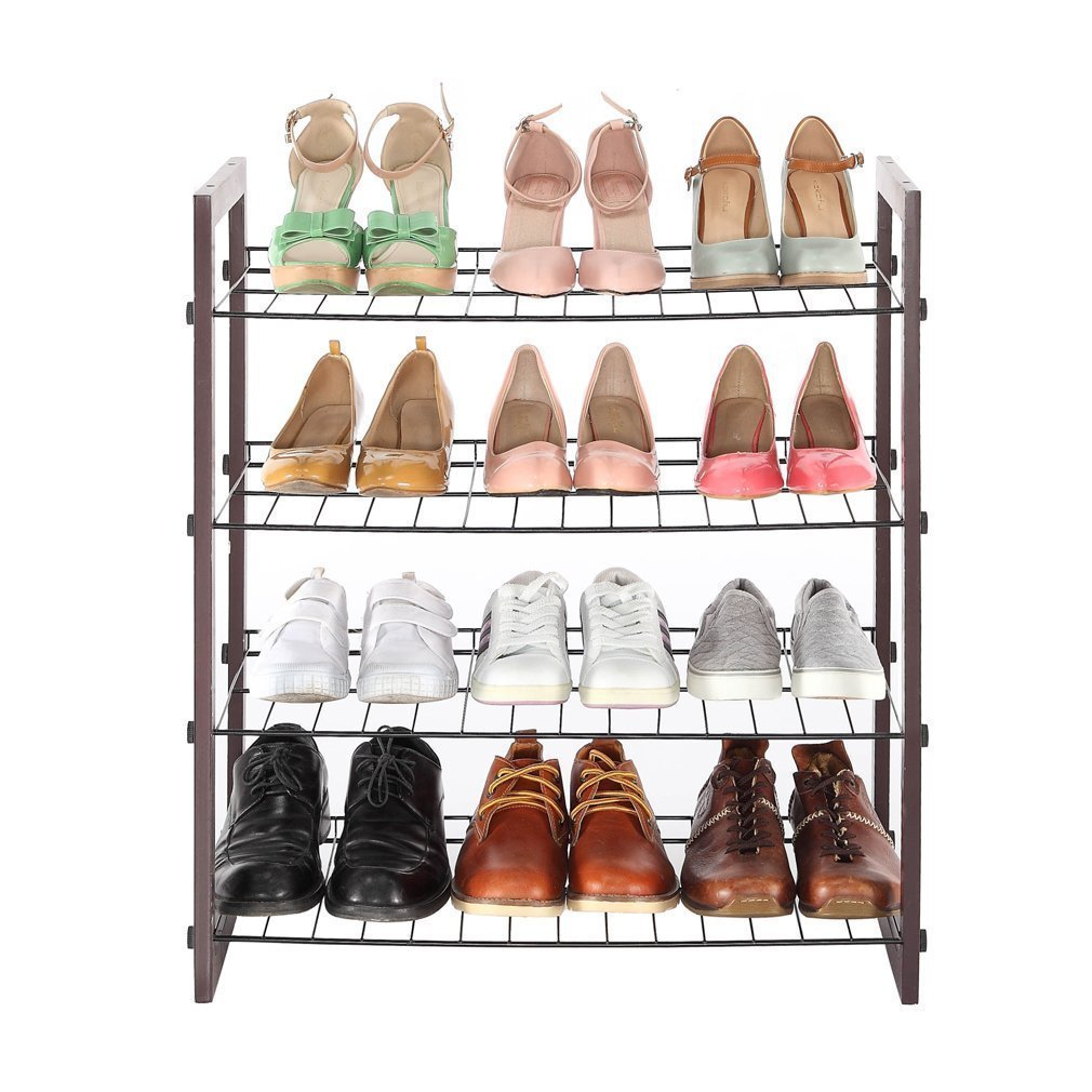 STORAGE MANIAC 4-Tier 12-Pair Shoe Rack Black Steel Wire with Wood Frame Space Saving Shoe Organizer for Entryway