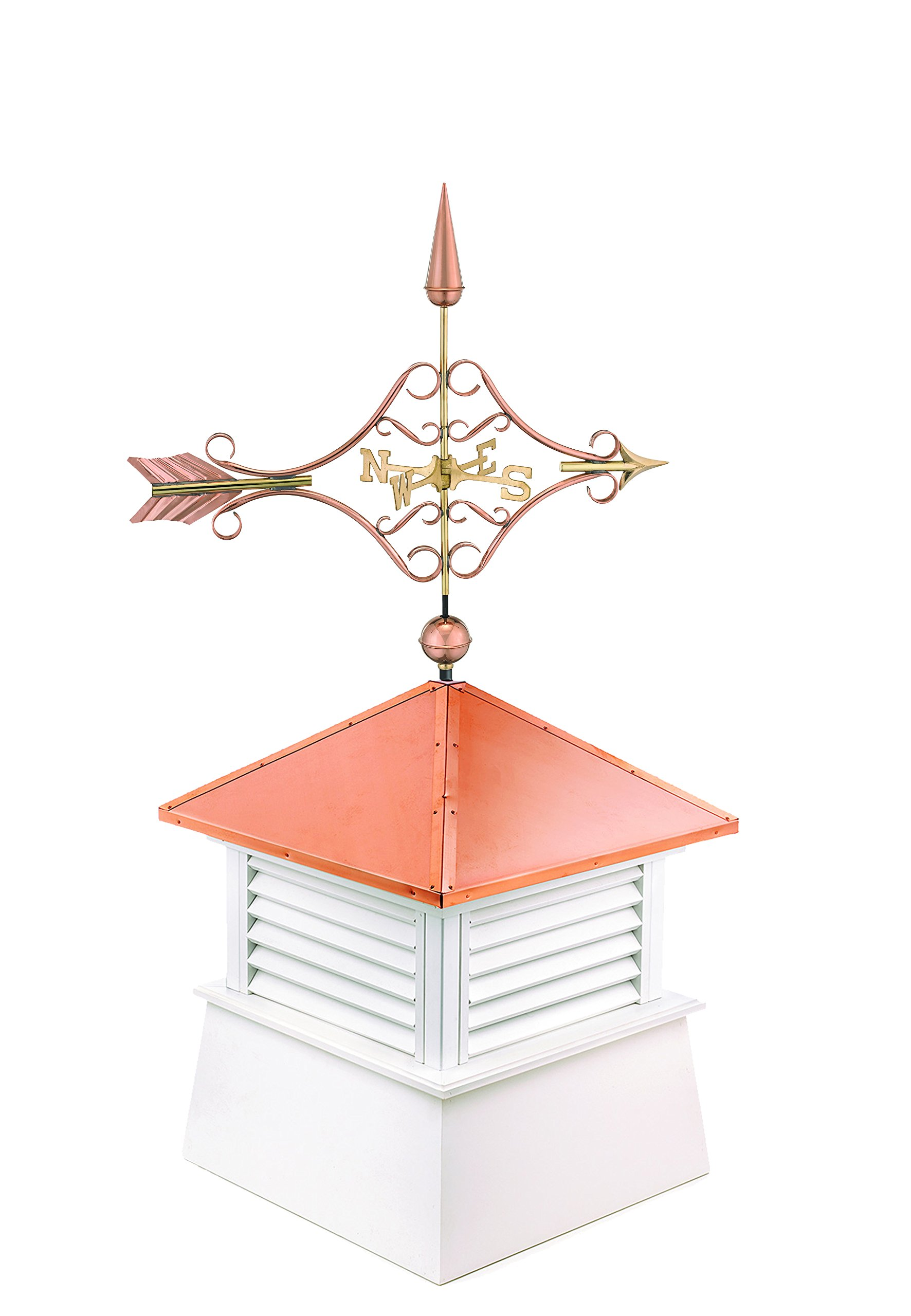 """Manchester Vinyl Cupola with Victorian Arrow Weathervane, Perfect size for a 2 Car Garage or Smaller House, 30"""" square x 73"""" high, Pure Copper Roof"""