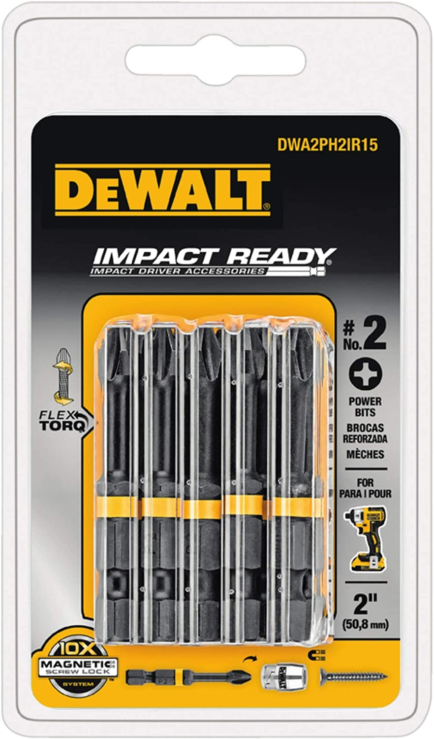 DeWalt Impact Ready Phillips #2 in. x 2 in. L Screwdriver Bit Black Oxide 15 pc.