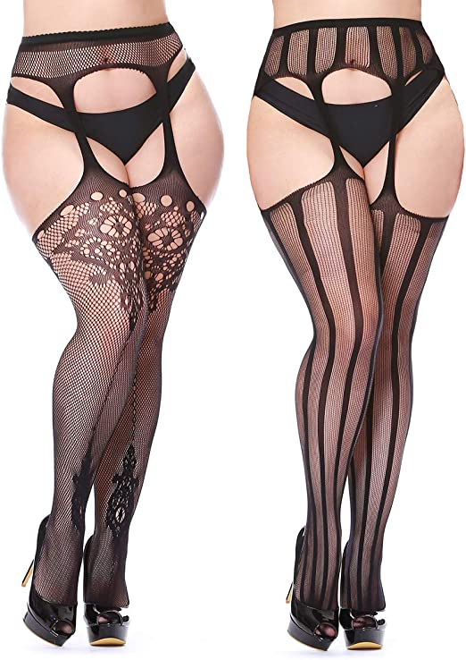 5 Pairs Womens Stockings Ladies Large Size and Suspenders Set with 5 Free Big Th
