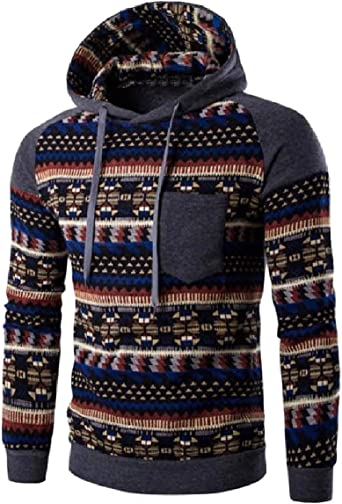 Comaba Mens Fine Cotton Outwear Hoodie Graphic Print Long Sleeve Shirts