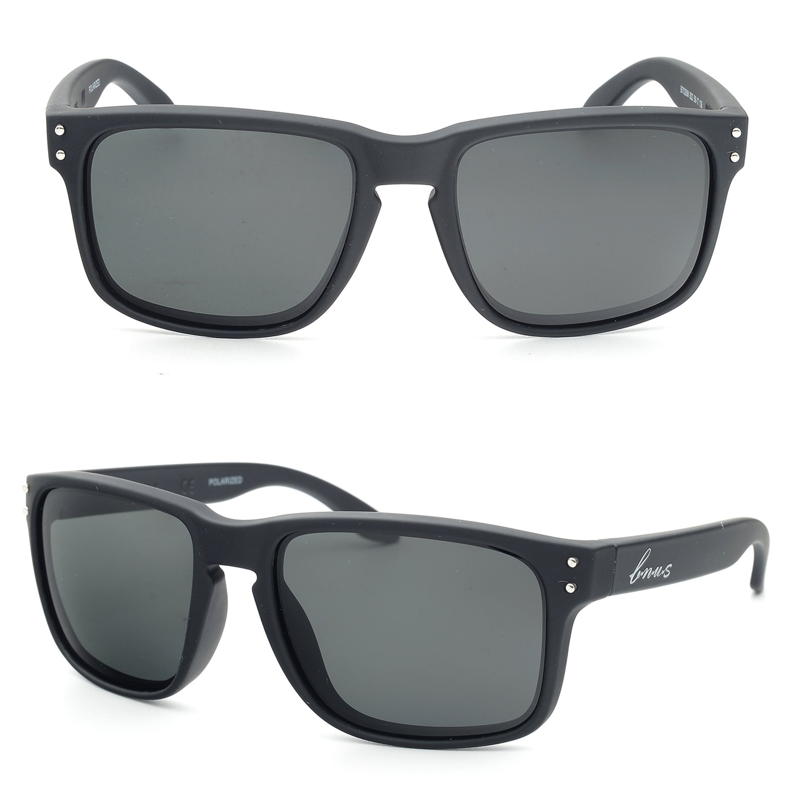 Bnus italy made classic sunglasses corning real glass lens w. polarized option (Matte Black/Grey, Polarized)