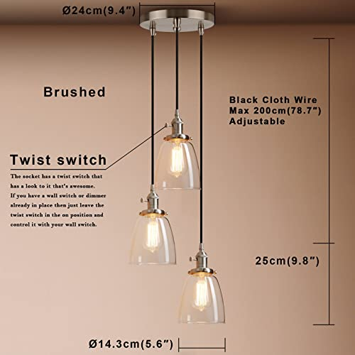 Pathson 3 Lights Pendant Lighting, Bathroom Vanity Light Fixtures with Clear Glass Shade, Hanging Lamps for Kitchen Island Brushed Steel