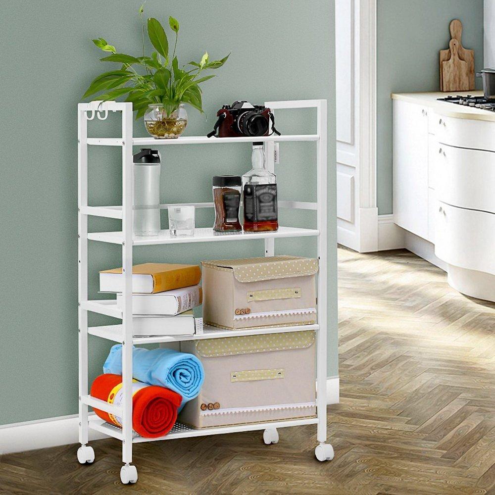 Tidyard Widen 4 Tiers Multi-Functional Storage Cart Ivory White by Tidyard