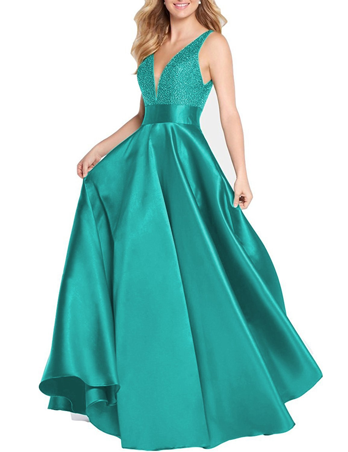 5bbc268b76f YIRENWANSHA Fashion 2018 Sexy V Neck Evening Dress For Women Party A Line  Long Sleeveless Gown Wedding Sash Like Empire Waist Lace Up Back SHEV86  Turquoise ...