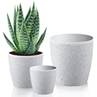 Worth Garden Resin Planter Sandstone Touch Set of 3, White Round Flower Pots with Drain Hole Planter for Plants Indoor…