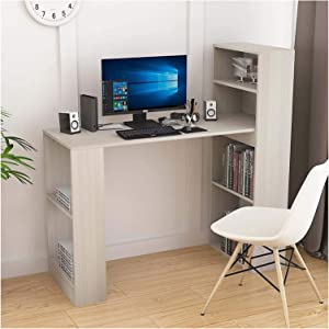 Yyl Computer Desk Bookcase Shelf Storage,White Wooden Shelving Display Storage Table with Partition for Office Computer Workstations Living Room Furniture (White) (Color : Beige)