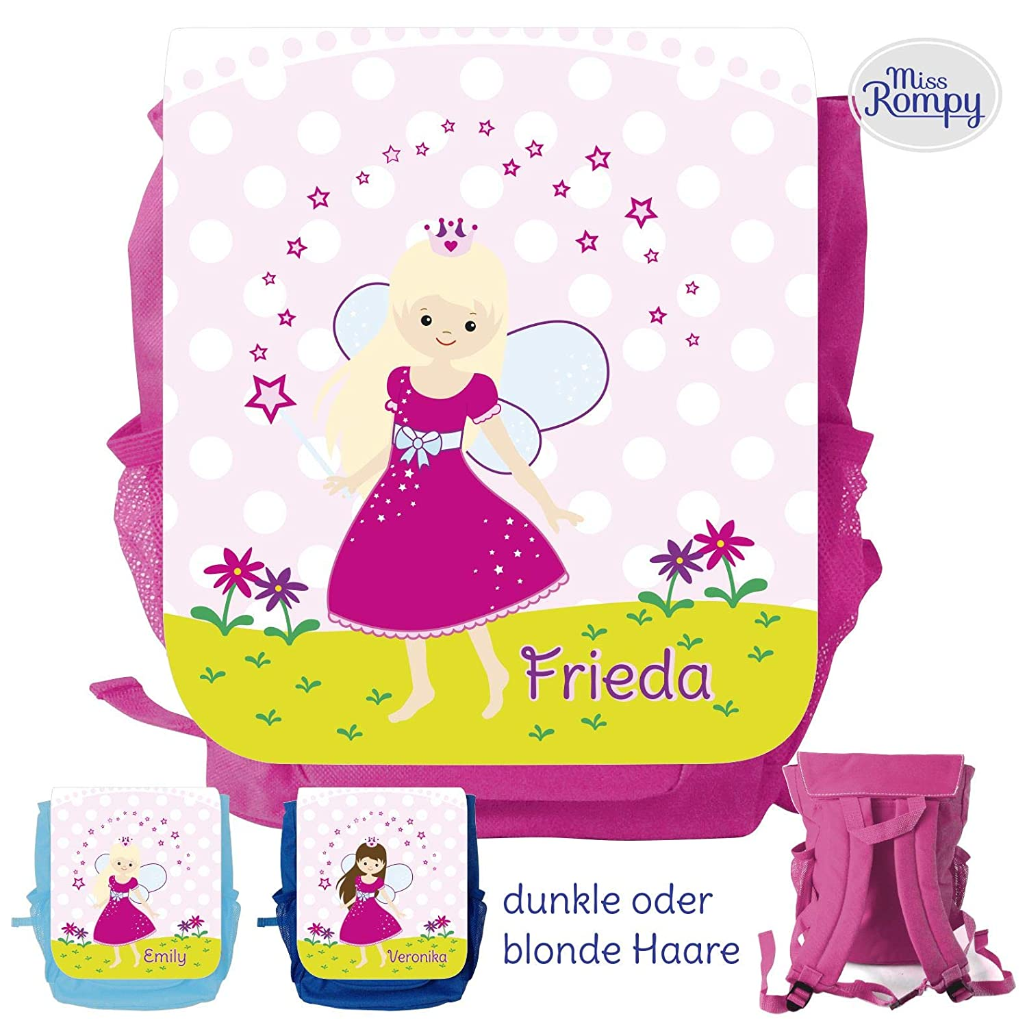 MissRompy Prinzessin (801) Rucksack mit Name Kinderrucksack Kita Kindergartenrucksack Kindertasche