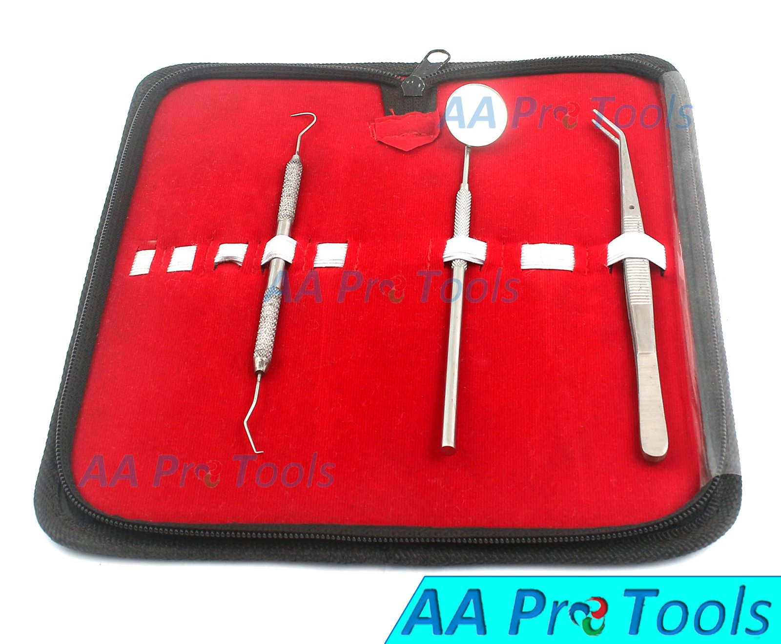 AA PRO 3 PCS DENTAL HYGIENE KIT - INCLUDES DENTAL PICK, ANTI FOG MOUTH MIRROR, TWEEZERS- PROFESSIONAL GRADE DENTIST APPROVED TOOLS A+ QUALITY